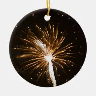 Fireworks display on Savannah River Round Ceramic Decoration