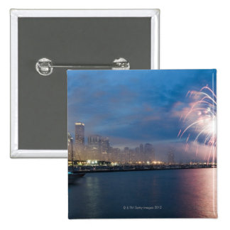 Fireworks display over the Chicago lakefront at 15 Cm Square Badge