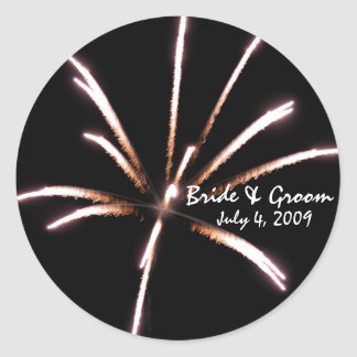 Fireworks Envelope Seals Round Sticker