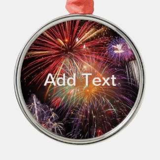 Fireworks Finale Silver-Colored Round Decoration