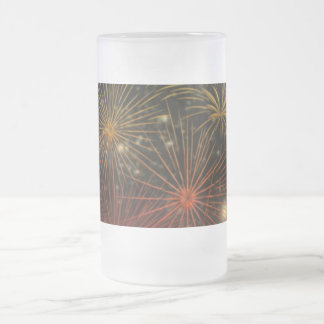 Fireworks Fire Sky Night Peace Love Party Art Frosted Glass Mug