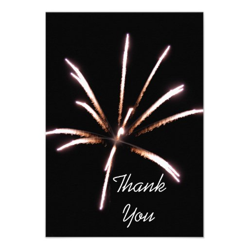 Fireworks Flat Thank You Note Card Invitation