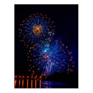 Fireworks flowers postcard