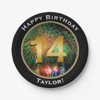 Fireworks Fourteenth 14th Birthday with Name Paper Plate