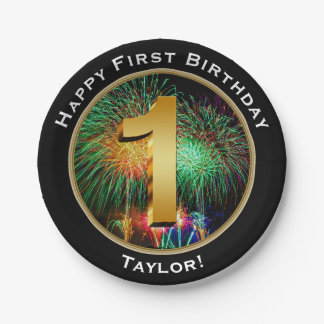Fireworks Happy First Birthday with Name Paper Plate