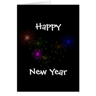 Fireworks Hapy New Year Greeting Card