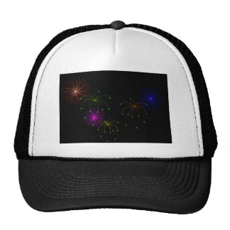 Fireworks Hapy New Year Mesh Hats