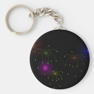 Fireworks Hapy New Year Basic Round Button Key Ring