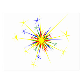 Fireworks Illustration Postcard