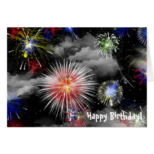 Fireworks in clouds birthday card