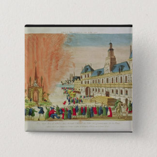 Fireworks in front of the Hotel de Ville in Paris 15 Cm Square Badge