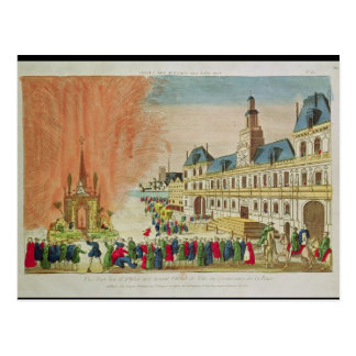 Fireworks in front of the Hotel de Ville in Paris Postcard