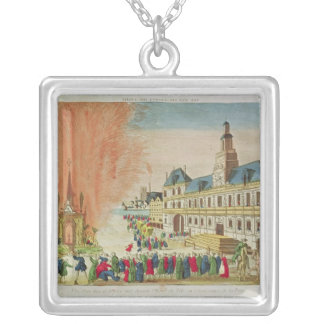 Fireworks in front of the Hotel de Ville in Paris Silver Plated Necklace
