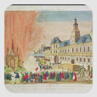 Fireworks in front of the Hotel de Ville in Paris Square Sticker