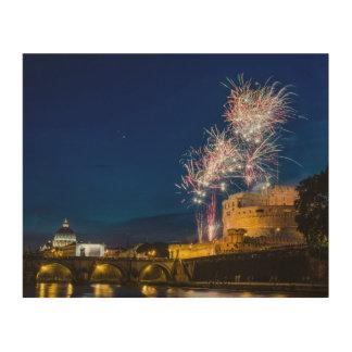 Fireworks in Rome Wood Print