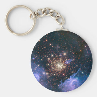 Fireworks in Space Basic Round Button Key Ring