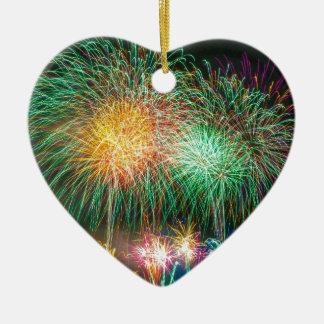 Fireworks Light Japan Festival Ceramic Heart Decoration