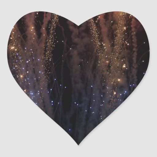 Fireworks Light the Sky Fourth of July Heart Stickers