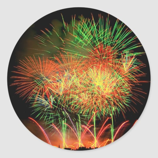 Fireworks Lighting up the Sky Classic Round Sticker