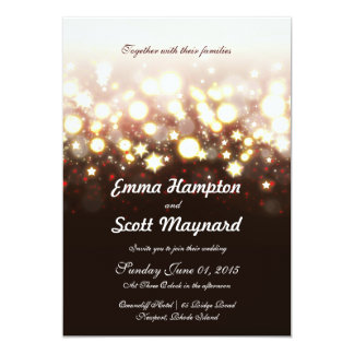 Fireworks lights and stars classic wedding invite
