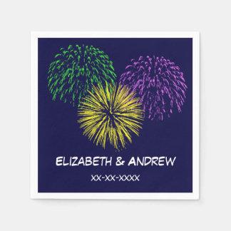 Fireworks, Navy Blue Background, Name Monogram Disposable Napkins