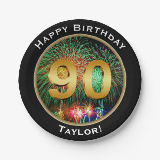 Fireworks Ninetieth 90th  Birthday with Name Paper Plate