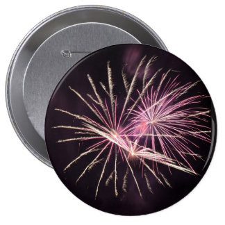 Fireworks one the heart 10 cm round badge