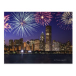 Fireworks over Chicago skyline