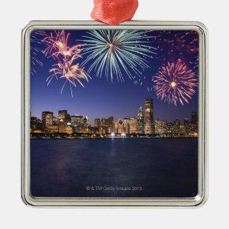 Fireworks over Chicago skyline 2 Christmas Ornament