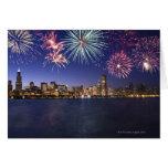Fireworks over Chicago skyline 2 Greeting Cards