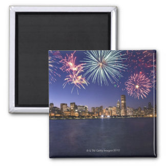 Fireworks over Chicago skyline 2 Magnet