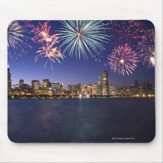 Fireworks over Chicago skyline 2 Mouse Mat