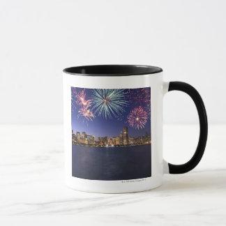 Fireworks over Chicago skyline 2 Mug