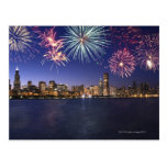 Fireworks over Chicago skyline 2 Postcard