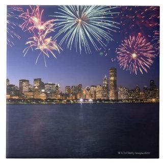 Fireworks over Chicago skyline 2 Tile