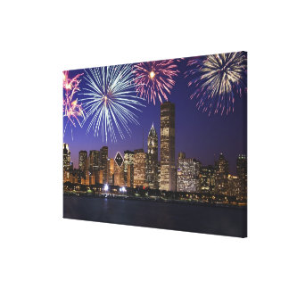 Fireworks over Chicago skyline Canvas Print