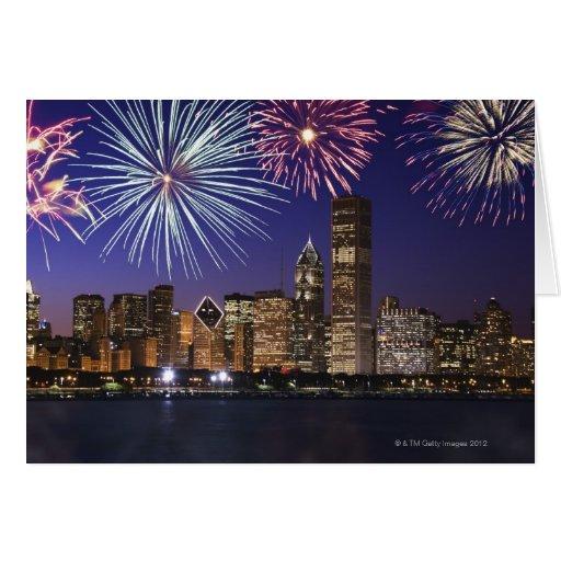 Fireworks over Chicago skyline Greeting Card