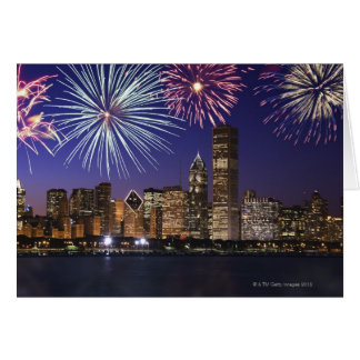 Fireworks over Chicago skyline Greeting Card
