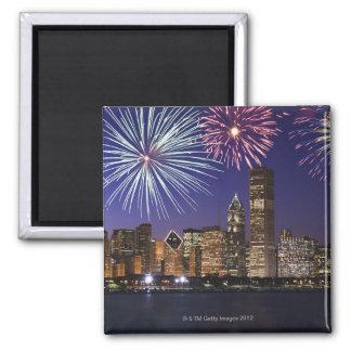 Fireworks over Chicago skyline Magnet