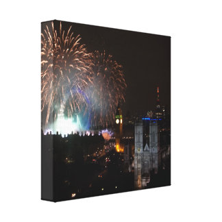 Fireworks over London, New Years Eve Canvas Gallery Wrapped Canvas