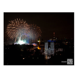 Fireworks over London, New Years Eve Postcard