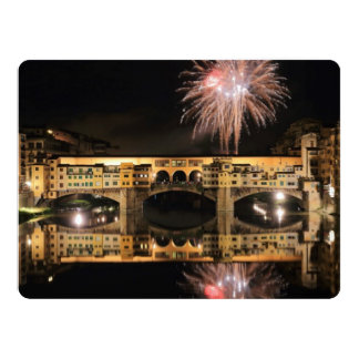 Fireworks over Ponte Vecchio in Florence Italy 17 Cm X 22 Cm Invitation Card