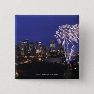 Fireworks Over The City 15 Cm Square Badge