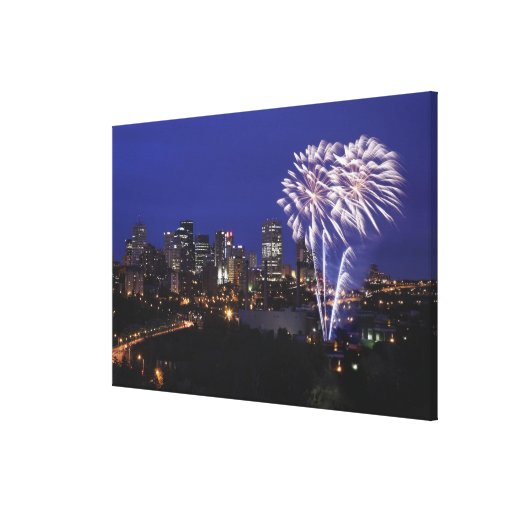 Fireworks Over The City Gallery Wrapped Canvas