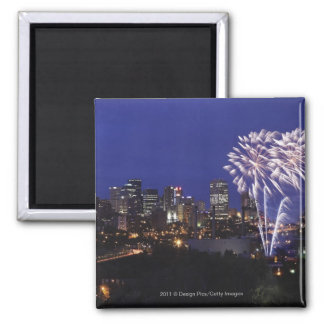Fireworks Over The City Square Magnet