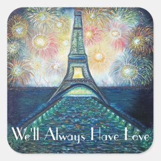 Fireworks Paris France Eiffel Tower Square Sticker