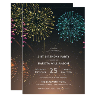 Fireworks Party | Modern Typography Birthday Party Card