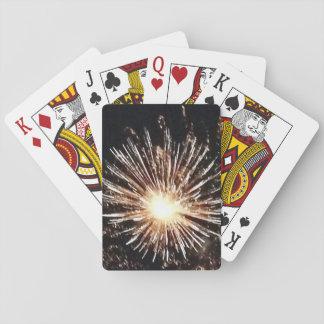 fireworks playing cards bursting light