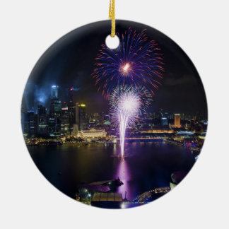 Fireworks Show in Boat Quay Singapore City Skyline Round Ceramic Decoration