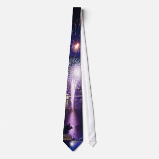 Fireworks Show in Boat Quay Singapore City Skyline Tie